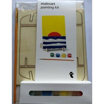 mini sztaluga malarska 2x płótno farby dla dzieci