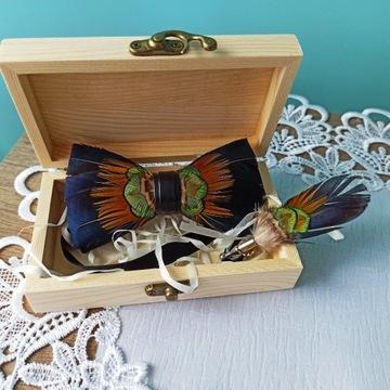 Luksusowa muszka + broszka natur pióra handmade