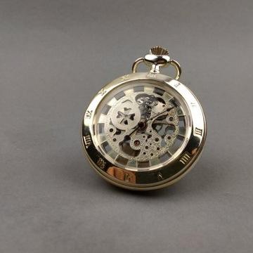 Kieszonkowy zegarek mechaniczny, szkieletowy