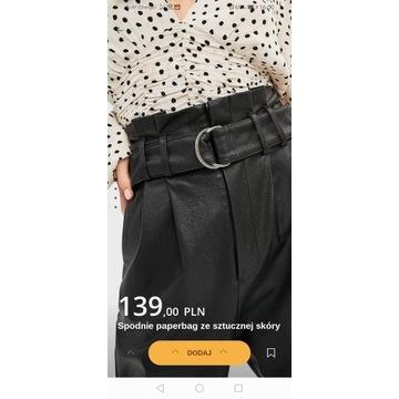 spodnie stradivarius 34,36, skóra