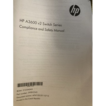 HP A3600 v2 Switch nowy komplet