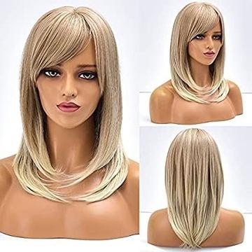 Krótka blond peruka cieniowana włosy jak naturalne