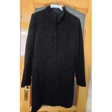 płaszcz czarny 100%wełniany damski,elegancki r.S/M