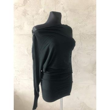 Czarna tunika sweter sukienka zip