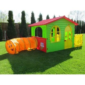 Domek ogrodowy dla dzieci z płotkiem i tunelem XXL