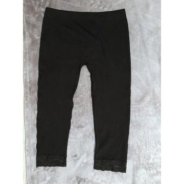 Czarne legginsy 3/4 z koronką, roz. uniwersalny