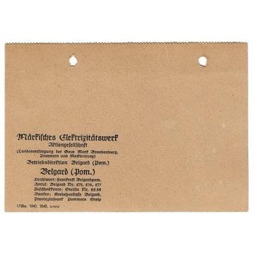 Kartka z lat 1940  dot. elektrowni w Białogardzie