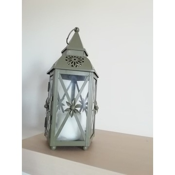 Lampion metalowy, boki ze szkla