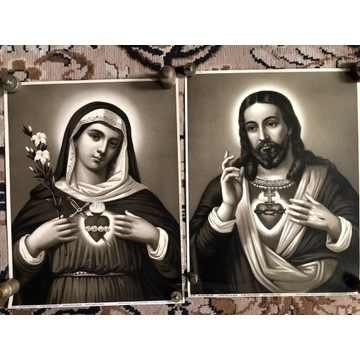 Przedwojenne oleodruki Serce P. Jezusa i M Boskiej