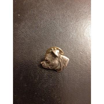 Blacha wpinka głowa psa buldog boxer metalowa pin