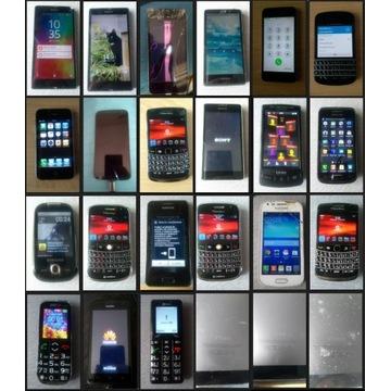 Zestaw telefonów Sony, BB, Samsung, Iphone