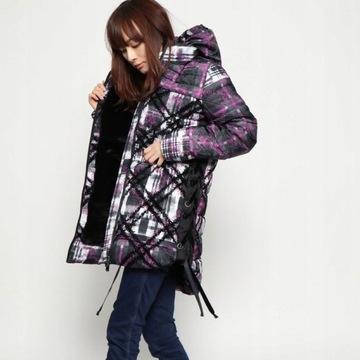 Desigual zimowa kurtka płaszcz sznurki Inaya XL