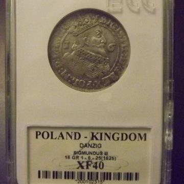 Moneta Ort Gdański Zygmunt III 1625 stan XF40