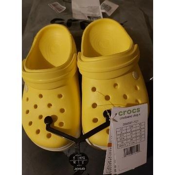 Nowe klapki Crocs 33/34, rozm J2 żółte