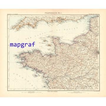 FRANCJA KANAŁ LA MANCHE stara mapa z 1906 roku 27