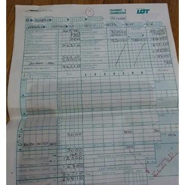 Listy kontrolnej TU -154 z LOT. Wypełnione