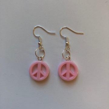 Kolczyki HANDMADE pacyfki hippie pastelowe różowe