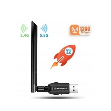 Agedate Karta sieciowa WiFi USB 3.0 5GHz 1200 Mb/s