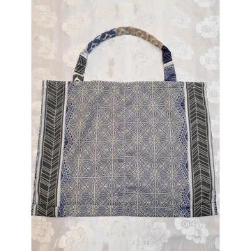 Torba eko zakupy bawełna niebieski wzór  handmade