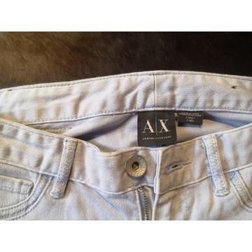 Spodnie Armani Jeans z zamkiem jasne niski stan