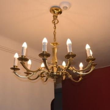 Lampa wisząca mosiężna 10- ramienna ANTYK