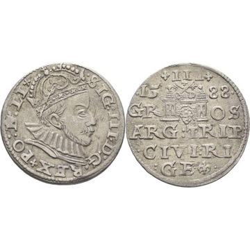 Trojak 1588 Ryga RZADKI ŁADNY