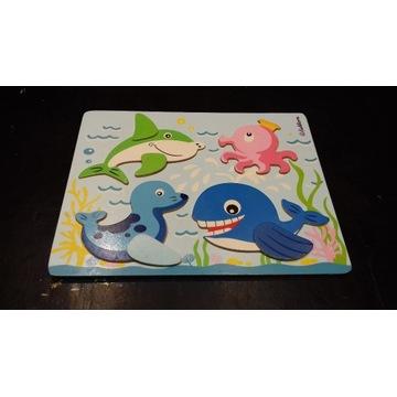 puzzle drewniane Eichhorn zwierzątka morskie rekin