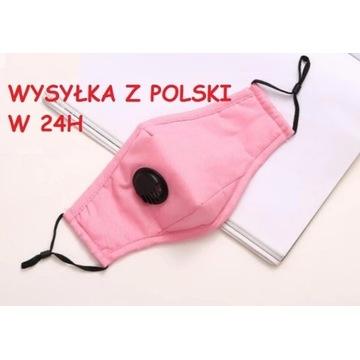 MASKA Z FILTREM P.M 2.5 ZAWÓR RÓŻOWA WYSYŁKA 24 PL