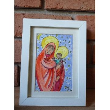 Maryja Madonna dzieciątkiem akwarela obraz prezent