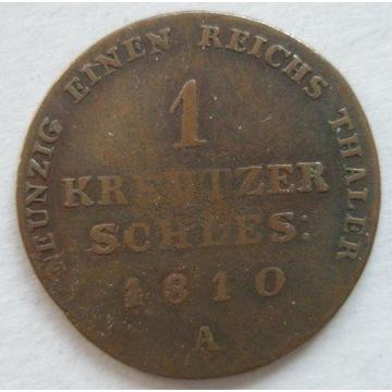 ŚLĄSK kreutzer 1810 A, Berlin. R2. Stan 3-