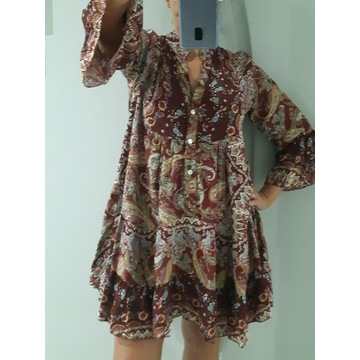 Włoska sukienka boho, bordo, piękna !!!