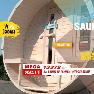 Sauna ogrodowa beczka dł.2,5m w pełnym wyposażeniu