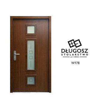 Drzwi Zewnętrzne Drewniane NISKIE 104x190 piaskowa