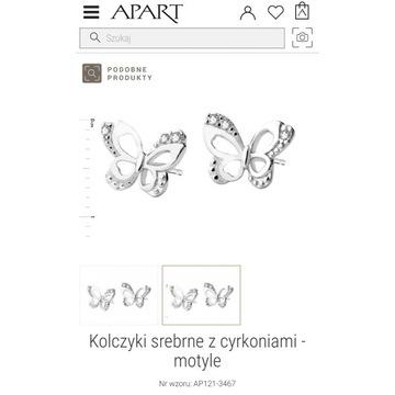 APART srebrne kolczyki z cyrkoniami motyle 925