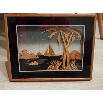 Obraz obrazek wypukły palmy statek 3D trójwymiar