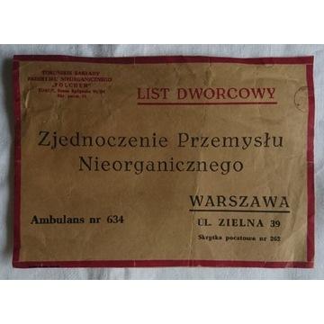 List dworcowy Polchem Toruń - Warszawa 1973