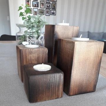 Komplet drewnianych świeczników LOFT
