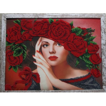 Obraz - haft koralikowy - Czerwone róże