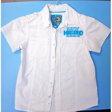 HERO pies 122 cm sportowa koszula biala krótki ręk