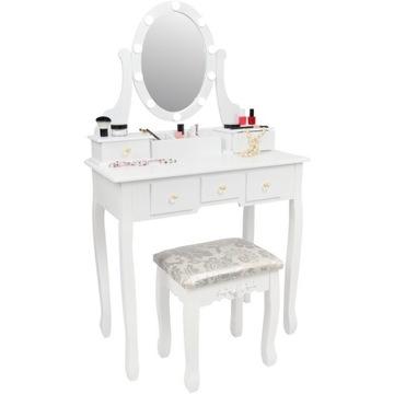 Toaletka kosmetyczna biała z lustrem led + taboret