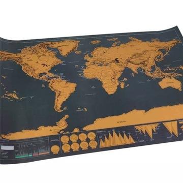Mapa zdrapka dla podróżnika turysty 42x30cm