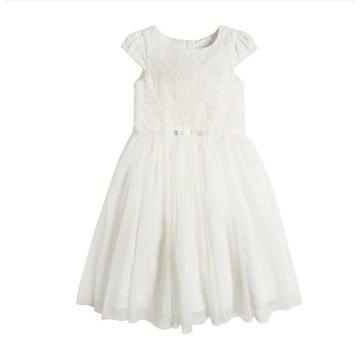 Sukienka tiul biała świeta komunia 128 CoolClub