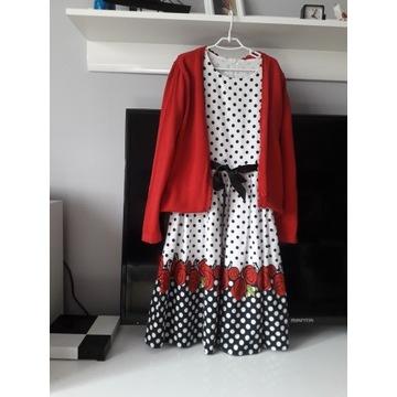 Sukienka róże grochy 146 + sweterek