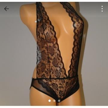 Body koronkowe bielizna erotyczna czarna 36 38 S M
