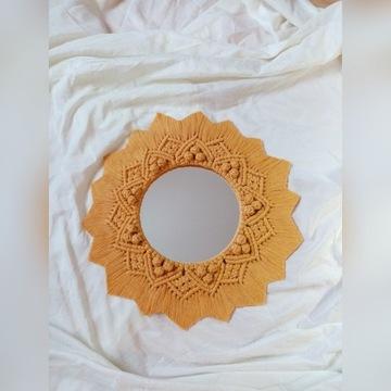 Makrama lustro mandala słońce kolor musztardowy
