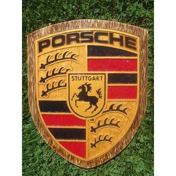 Porsche Ręcznie rzeźbione logo w drewnie UNIKAT