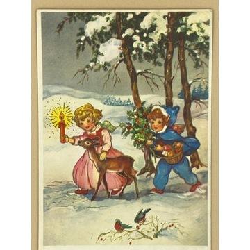 Kartka z aniołkiem  i dziewczynką