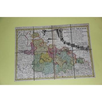 Księstwo Śląskie 1745 Homann Oryginał
