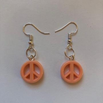 Kolczyki HANDMADE pacyfki hippie pudrowe pomarańcz