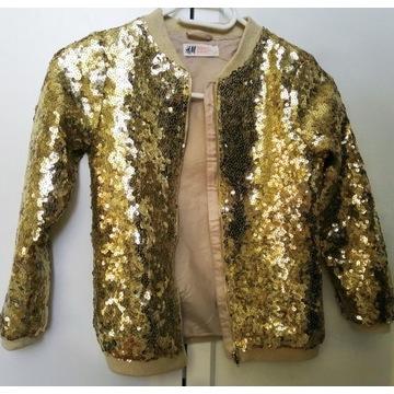 Bluza H&M złote cekiny 128